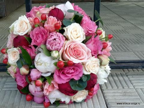 свадебный букет круглой формы