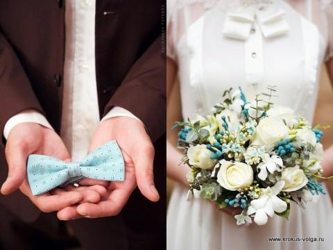 свадебный букет с бирюзовыми акцентами