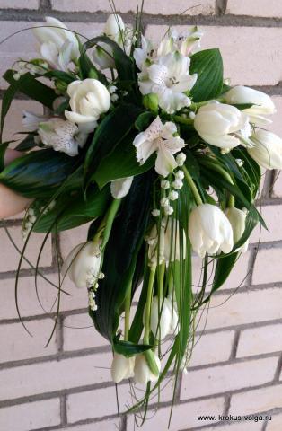 свадебный букет с ниспадением