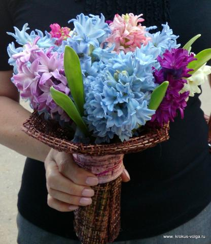 свадебный букет из гиацинтов