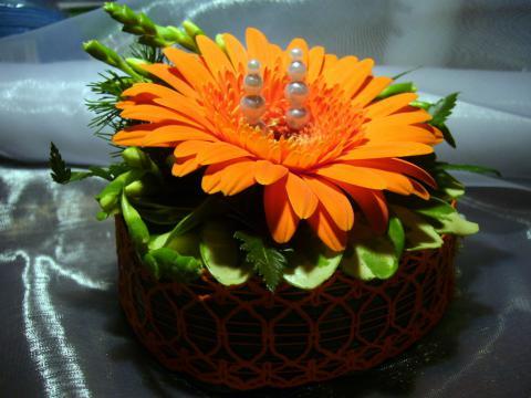 Оранжевая свадьба. Подушечка для свадебных колец